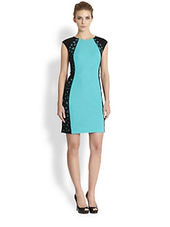 Kay Unger - Eyelet-Detailed Colorblock Stretch Crepe Dress