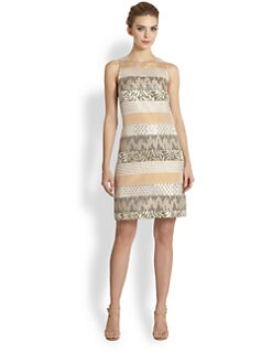 Kay Unger - Embellished Mixed-Media Dress