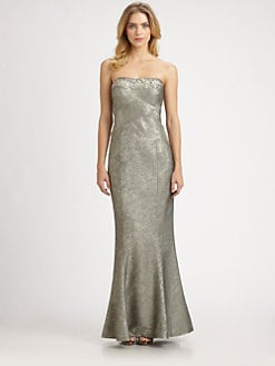 Kay Unger - Jacquard Strapless Gown