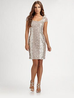 Kay Unger - Lace-Trimmed Sequin Dress