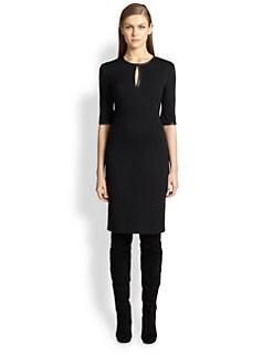 St. John - Leather-Trimmed Knit Dress