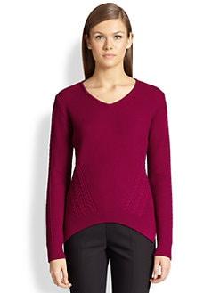St. John - Multi-Textured Knit V-Neck Sweater