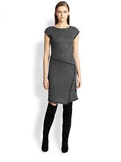 St. John - Twill Knit Cap-Sleeve Dress