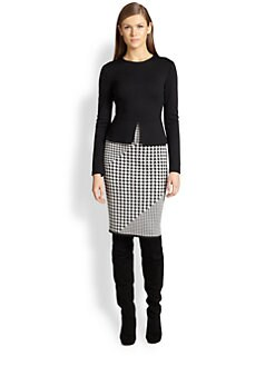 St. John - Milano Knit Houndsooth Combo Peplum Dress