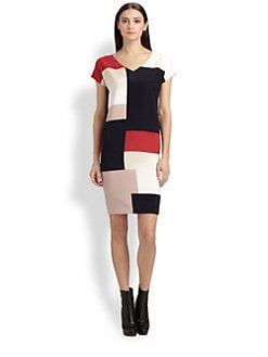 St. John - Stretch Silk Colorblock Dress