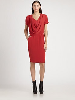 St. John - Crepe Draped Dress