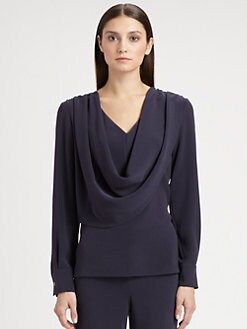 St. John - Crepe Draped Blouse