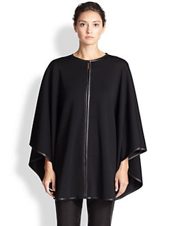 St. John - Milano Leather-Trimmed Cape