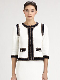 St. John - Crochet-Trimmed Tweed Jacket