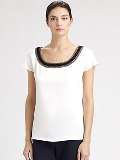 St. John - Crochet-Trimmed Silk Satin Top