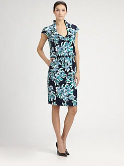St. John - Floral Print Silk Dress
