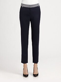 St. John - Chambray-Trimmed Emma Pants