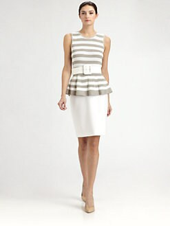 St. John - Striped Knit Peplum Top