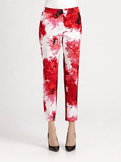 St. John - Printed Sateen Emma Pants