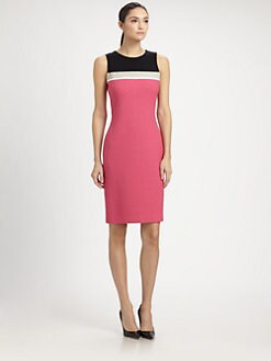 St. John - Colorblock Bouclé Dress