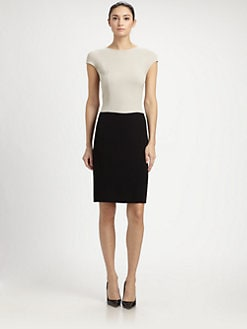 St. John - Crepe Colorblock Dress