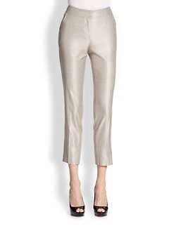 St. John - Cropped Wool & Silk-Blend Straight-Leg Pants