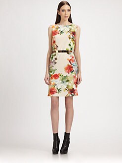 St. John - Floral Silk Dress