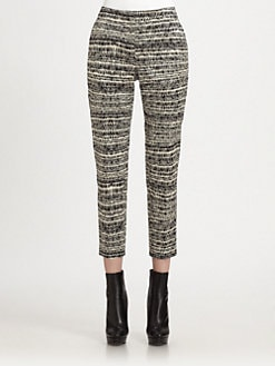 St. John - Etched Stripe Print Pants
