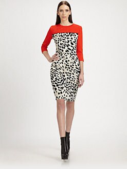 St. John - Colorblock Animal Print Dress