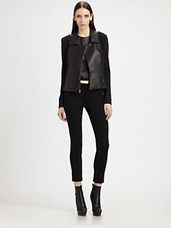 St. John - Leather-Trimmed Knit Jacket