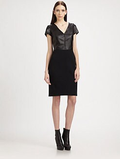 St. John - Nappa Leather Bodice Dress