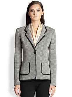 St. John - Leather-Trimmed Knit Blazer