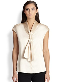 St. John - Silk Charmeuse Cap-Sleeve Top
