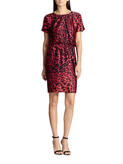 St. John - Silk Leopard Print Dress