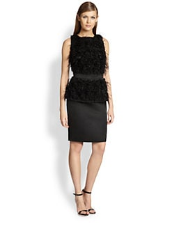 St. John - Feather-Trimmed Peplum Dress