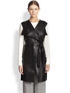 St. John - Leather & Wool Tie-Belt Maxi Vest