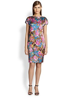 St. John - Floral Silk Charmeuse Dress
