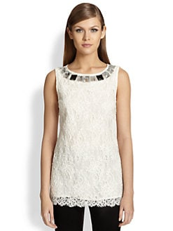 St. John - Jeweled Lace Tunic