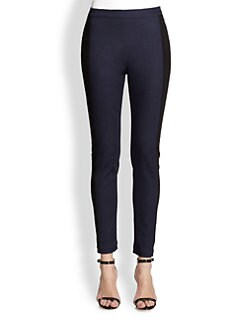 St. John - Contrast-Trimmed Denim Leggings