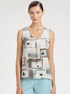 St. John - Silk Watercolor Print Top