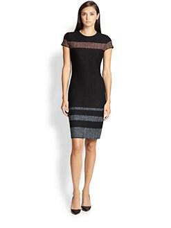 St. John - Striped Knit Sheath Dress