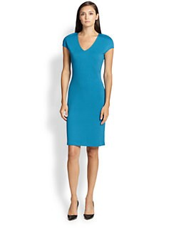 St. John - V-Neck Knit Sheath Dress