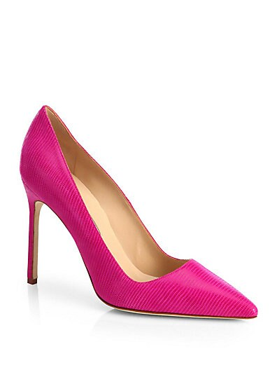 Manolo Blahnik BB Lizard-Embossed Leather Pumps