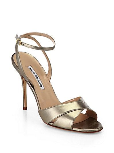 Orlana Crisscross Metallic Leather Sandals