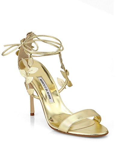 Bolabasan Metallic Leather Leaf Sandals