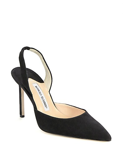 Carolyne Suede Slingback Point-Toe Pumps