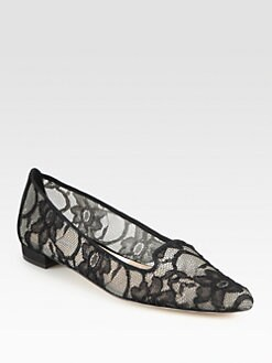 Manolo Blahnik - Sharif Lace Smoking Slippers
