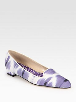 Manolo Blahnik - Sharif Ikat-Print Linen Smoking Slippers