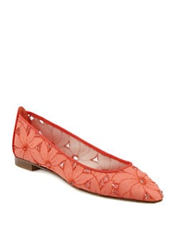 Manolo Blahnik - Leela Eyelet & Lace Ballet Flats
