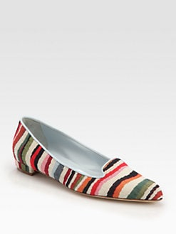 Manolo Blahnik - Sharif Striped Linen Smoking Slippers
