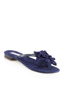 Manolo Blahnik - Patricia Suede Flower Thong Sandals