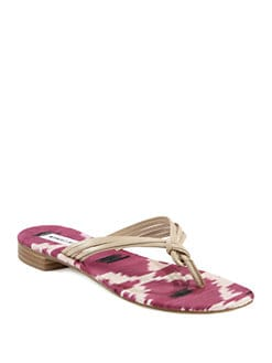 Manolo Blahnik - Tarantina Ikat Leather Thong Sandals