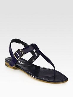Manolo Blahnik - Sista Patent Leather Thong Sandals