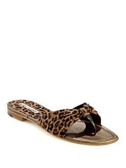 Manolo Blahnik - Berna Leopard-Print Suede Thong Sandals