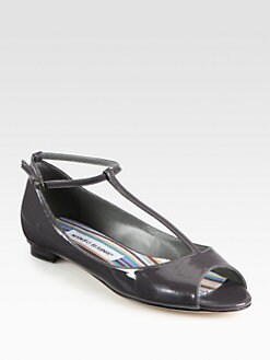 Manolo Blahnik - Ane Patent Leather T-Strap Ballet Flats